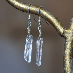 Sterling Silver and Clear Quartz Crystal Handmade Drop Earrings