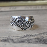Hand-carved Silver Rose Ring - UK Size O/P (US Size 7/ 7.5), Rings - the nine of hearts jewellery