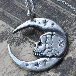 Hand carved Solid Silver Skull Moon Pendant in Sterling Silver
