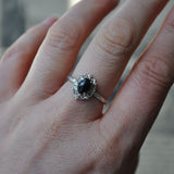 Black Onyx and Silver handmade Ring - UK Size N (US 6.5)