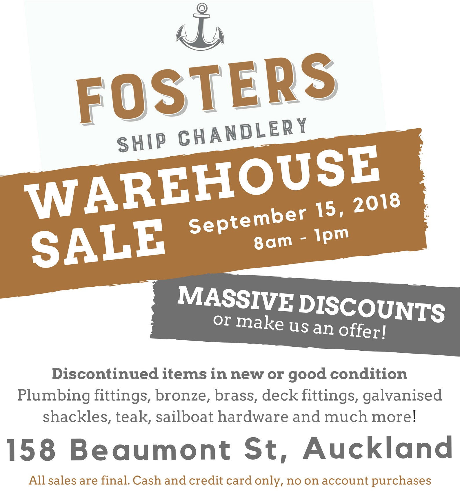 Fosters Ship Chandlery Warehouse Sale Ad