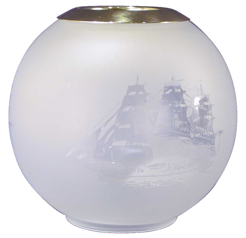 SORENSEN OIL LAMP SPARE GLOBE SHIP MOTIF