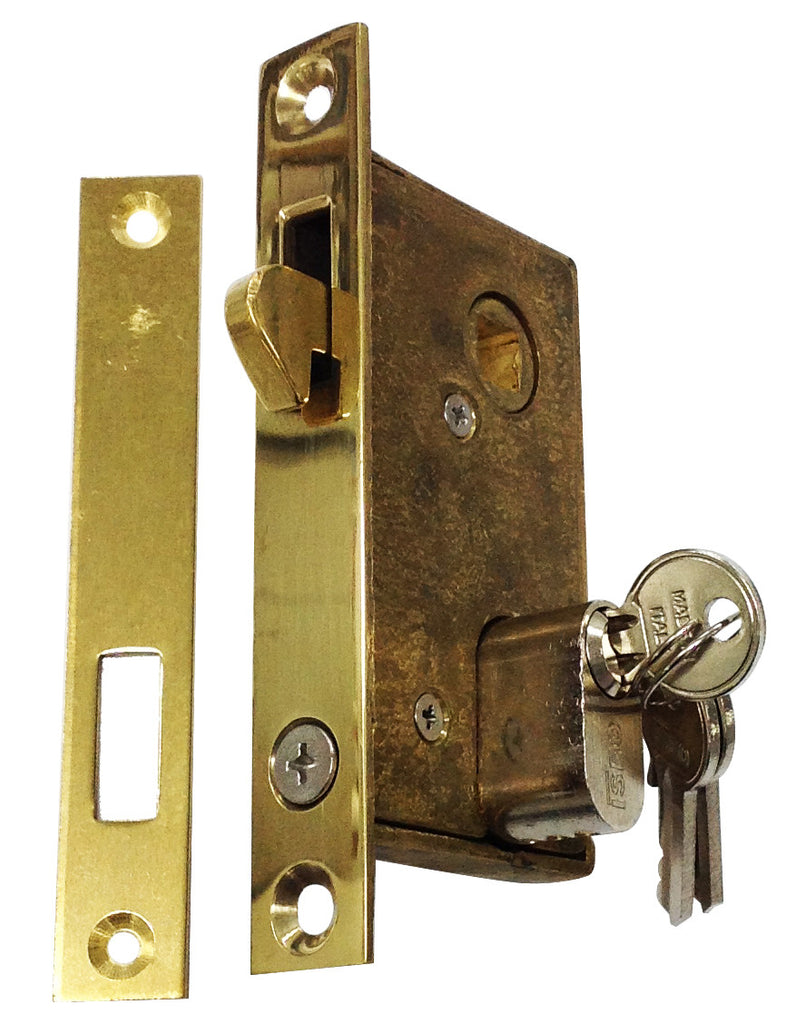 SLIDING DOOR MORTICE LOCK BRASS OR272PB