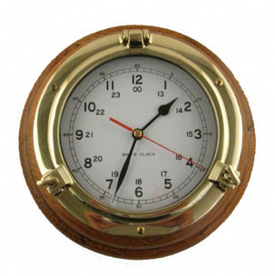 SHIPS CLOCK 8 INCH OAK / BRASS