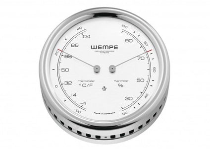 WEMPE Thermometer/Hygrometer Combination S/S 100mm Ø (PILOT V Series)