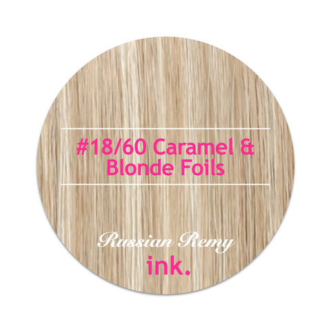 #18/60 Caramel & Blonde Foils Tape Hair Extensions 22-24""
