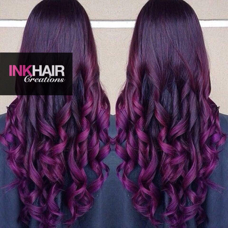 Full Head Of Russian Ink Hair Extensions 100g Ink Hair Creations