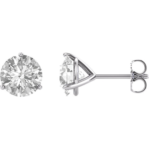 14K White 8mm Round Forever One™ Moissanite Earrings 4CT DEW