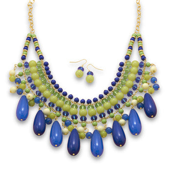 Multistrand Blue and Green Bead Fashion Set - Mildred and Iolas Boutique