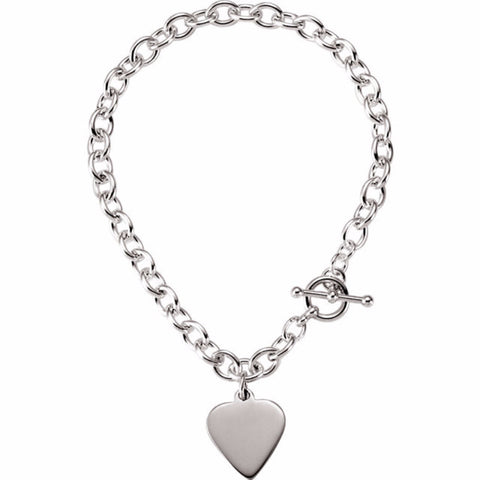 .75mm Cable Toggle Bracelet with Heart