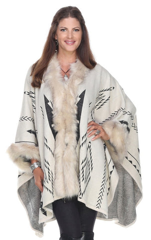 Southwest Inspired Cape with Fur Trim ­ Ivory https://www.mildredandiolasboutique.com/products/southwest
