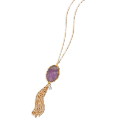 Gold Tone Amethyst Tassel Necklace