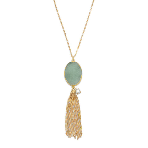 Gold Tone Aventurine Tassel Necklace