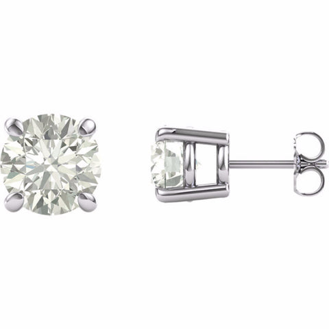 14K White 8mm Round Forever Brilliant® Moissanite Earrings 4CT DEW/W Rose