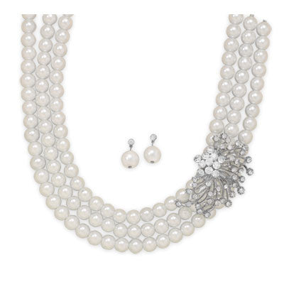 Glass Pearl and Crystal Fashion Necklace and Earring Set - Mildred and Iolas Boutique