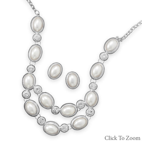 Silver Tone Oval Imitation Pearl Fashion Necklace and Earring Set - Mildred and Iolas Boutique