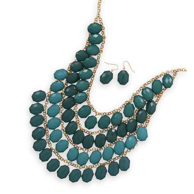 Four Tier Gold Tone Emerald Green Bead Fashion Set - Mildred and Iolas Boutique
