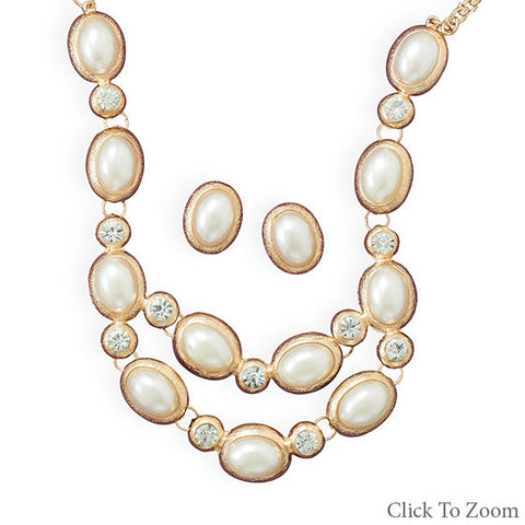 Gold Tone Oval Imitation Pearl Fashion Necklace and Earring Set - Mildred and Iolas Boutique