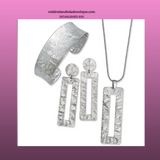 .925 Silver Hammered Textured Design Wide Cuff, Necklace and Earring Set