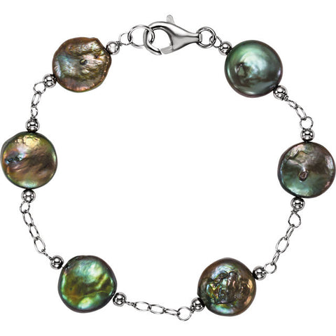 "Freshwater Cultured Black Coin Pearl"" Bracelet Sterling  Silver - Mildred and Iolas Boutique - 1"