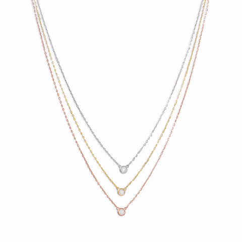 14 Karat Gold Plated  Graduated Tri Tone Necklace with CZs