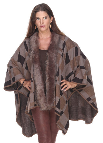 Plaid Cape with Fuux Fur - Taupe - Mildred and Iolas Boutique - 1