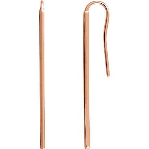 Rose Gold  Bar Earrings 14 kt - Mildred and Iolas Boutique