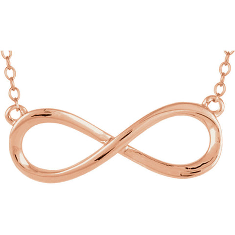 Rose  Gold Infinity Necklace 18in 14kt - Mildred and Iolas Boutique