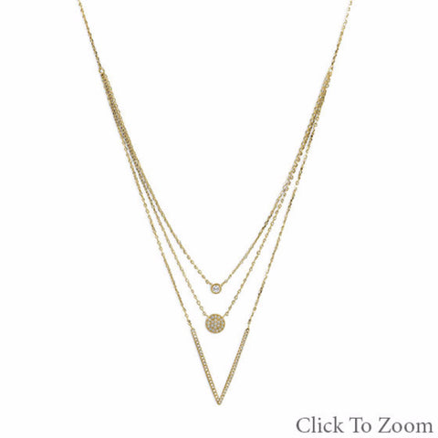 14 Karat Gold Plated Triple Strand Necklace with CZs - Mildred and Iolas Boutique
