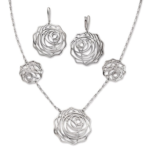 .925 Silver Scribble Flower Design Necklace and Earring Set