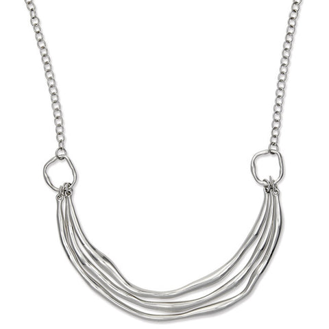 ".925 Silver Hammered Look Triple Curved Bars Statement Necklace 16""+2"" Extender"