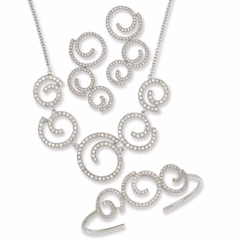 ".925 Silver Open Circle Design with Clear CZ's 16""+2"" ext. Necklace, Bracelet and Earring Set"
