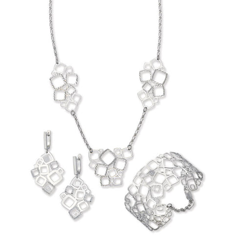 ".925 Silver Geometrical Squares with Diamond Cut Design 16"" + 2"" Extender Necklace, Earring and Bracelet Set"