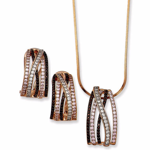 .925 Silver Rose Gold Tone 5 Row Design with Triple A Quality Brown, Clear, Pink CZ's Pendant and Fish Hook Earring Set