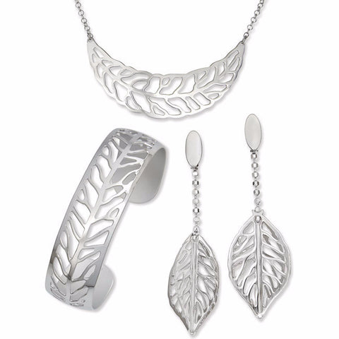 .925 Silver Large Open Leaf Design Bangle, Necklace and Earring Set