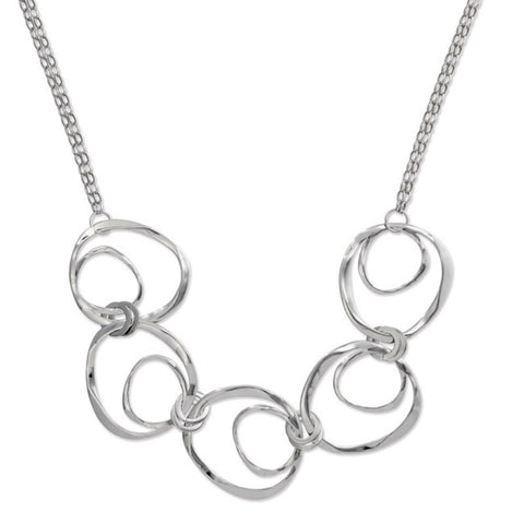 .925  Sterling Silver 5 Abstract Open Circles Statement Necklace