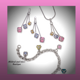 Yellow, Lavender & Pink Colored Square CZ Cube Dangle Earrings, Bracelet and Pendant Set