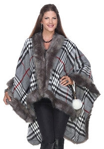 Fabulous tartan checked plaid  faux fur  cape -Pre-Order Fall 2016  Arrives By September  30th 2016 - Mildred and Iolas Boutique