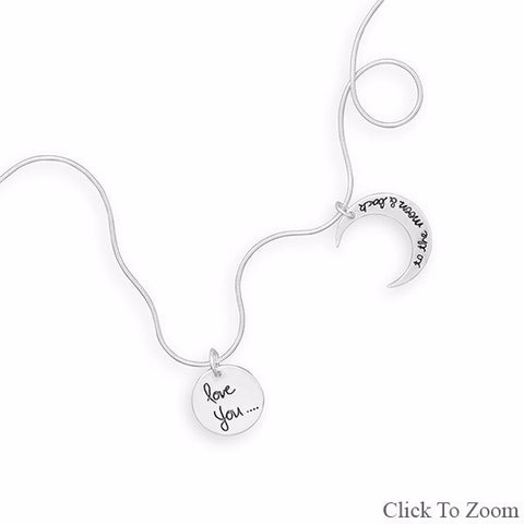 "18"" Love You to the Moon and Back Charm Necklace .925 Sterling Silver - Mildred and Iolas Boutique"