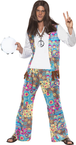 Flower power hippie men costume