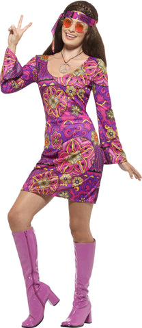 Woodstock hippie ladies costume (purple)