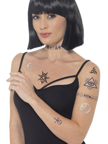 Halloween Occult Tattoos (blau & Schwarz)