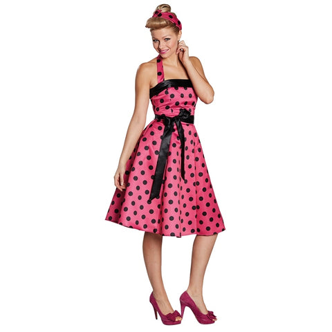 50s dotted dress (pink-black)