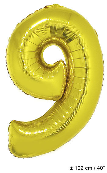 "Folienballon Zahl ""9"" Gold"
