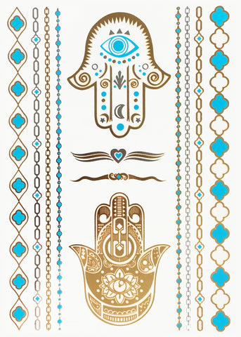 Metallic Body Tattoos - Hamsa Hände