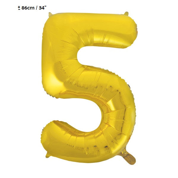 "Folienballon Zahl ""5"" Gold"