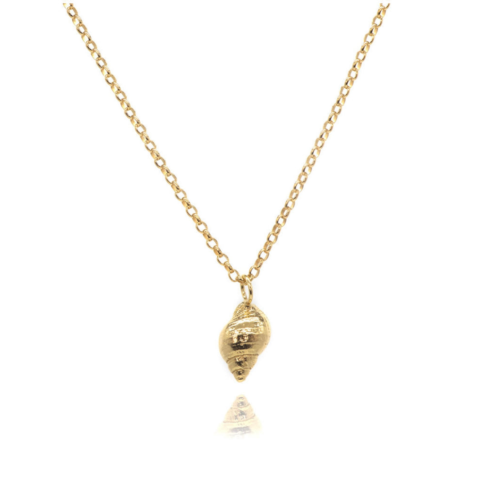 Large Gold Periwinkle Necklace