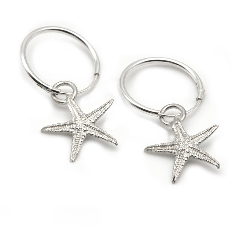 Real Starfish Hoop Earrings