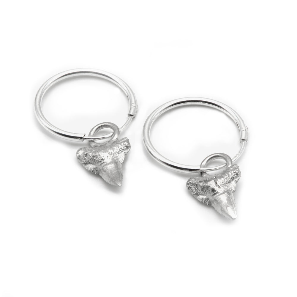 Load image into Gallery viewer, Sharks Tooth Earrings, Silver Ocean Earrings