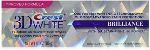 crest 3d white brilliance teeth whitening toothpaste 4.1oz, 116g, replaces and improves on crest glamorous toothpaste